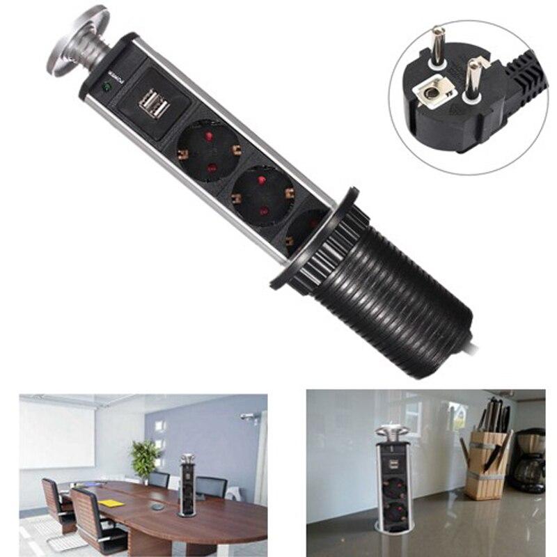 Nouvelle prise en aluminium à led avec prise de Charge USB et prise de cuisine 3EU, livraison gratuite