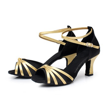 New Arrival Women Ballroom Latin Dance Shoes Open Toe Light Tango Satin Heels Salsa Shoes Heeled 5CM/7CM