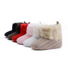 2017 Winter Warm Baby First Walkers Ankle Baby Girls Soft Cotton Knitted Man-made Fleece Winter Warm Snow Boots Crib Shoes