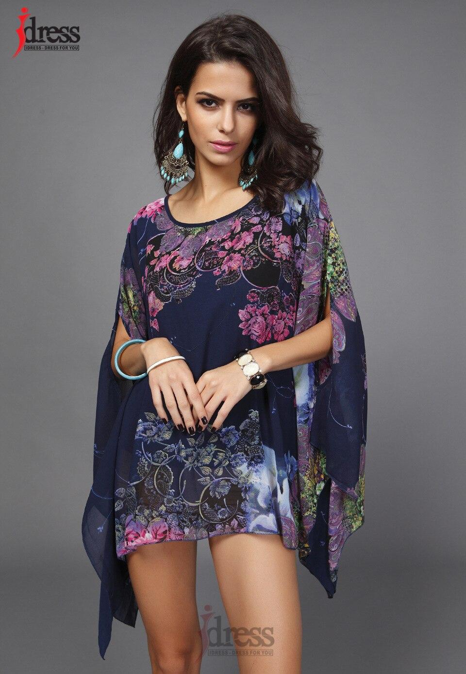 IDress Plus Size Women Clothing 2017 Summer Fashion Sexy Chiffon Tops for Women Vintage African Print Short Sleeve Sexy T Shirt (3)