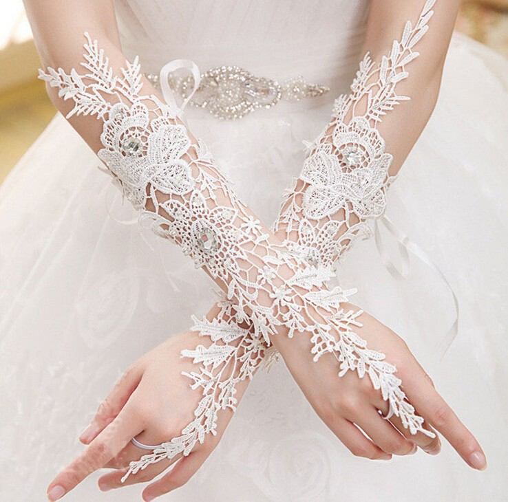 Woman White Lace Gloves Fingerless Phoenix Pattern Elbow Length Long Dance Gloves 2019 New Arrival