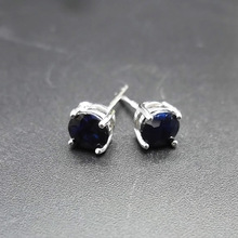 LANZYO 925 Silver natuarl sapphire stud Earrings fashion jewelry anniversary plant women Christmas gift wholesale e050502agl