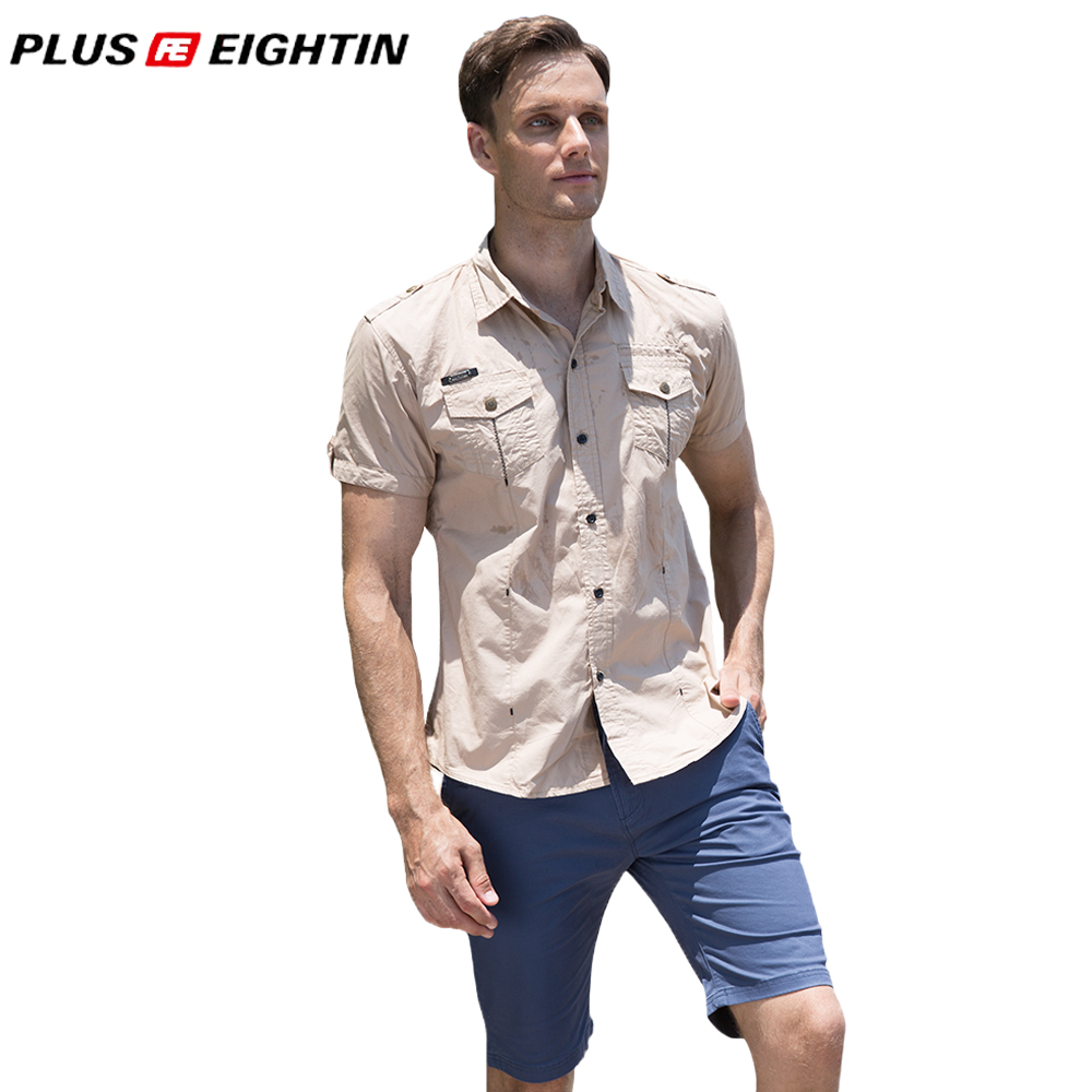PLUS EIGHTIN Men Brand Clothing New Fashion Men Solid Cargo Shirt Short Sleeve Work Shirts Military Style Cotton Casual Shirt