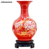 Artykuły wyposażenia wnętrz Chiny Czerwone Wazony Ceramiczne Jingdezhen Piwonia Kwiat Gospodarstwa Domowego Hotelu Salonik Ganek TV Arka Dekoracji Ślubnych