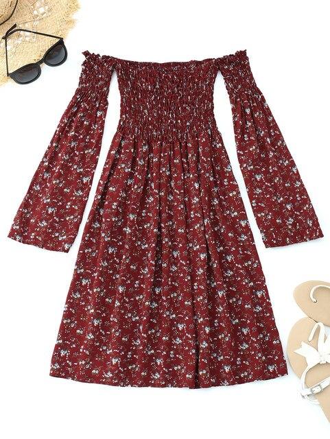 665fe72df Kenancy Smocked Floral Fora Do Ombro Mini Vestido de Moda Manga Alargamento  Cintura Alta Vestido Beach