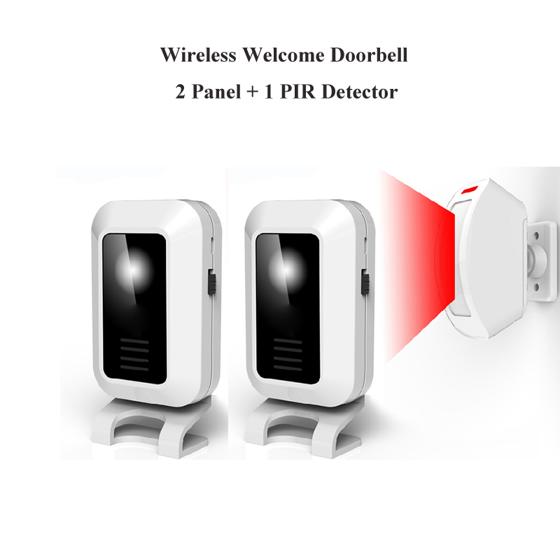 ФОТО Wireless PIR Motion Sensor Alarm With 1 Detector 2 Panel Controls Welcome Chime Wireless Welcome Doorbell