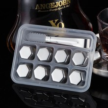 Hexagonal Champagne Whiskey Beer Cooler Stainless Steel Ice Cubes Longer Than Alcohol Cooling Drink Wine Chiller Stones