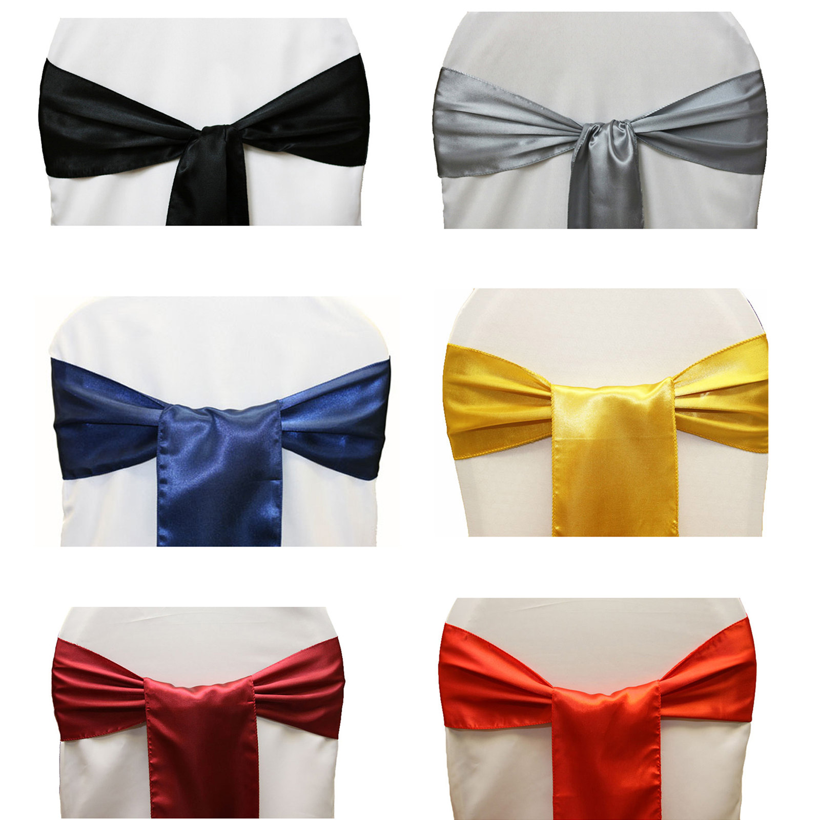 50pcs Satin Chair Sashs Satin Chair Covers Bows Home Wedding Party Favors Decorations For Hotel Banquet