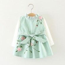Autumn Baby Girls Cotton Long Sleeve T-shirt Tops + Floral Bow Cute Sundress Kids Infant 2Pcs Dresses vestidos roupas de bebe