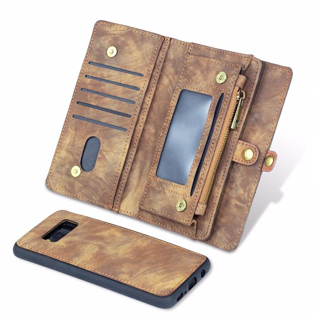 Cremallera caso de cartera de cuero de la PU de la caja del teléfono para Samsung Galaxy S7 S8 más S9 más Note8 magnético espalda cubierta de libro flip Cover
