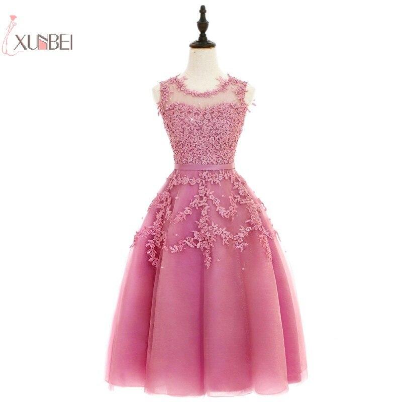 2019 Elegant Lace Tulle Short   Prom     Dress   A line Applique Beading   Prom   Gown Gala   Dress   Vestido de festa
