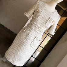 Chic womens elegant pencil dress 2019 autumn short sleeves tweed A569