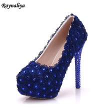Handmade 2018 Spring Royal Blue Lace Wedding Party Shoes Comfortable Thin Heel Beautiful Platform Pumps XY-A0056