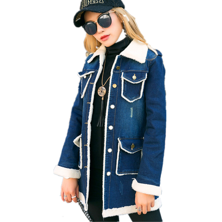 New Women's Blue Casual Long Slim Faux Fur Lining Autumn Denim Jacket Coat Parkas For Women Autumn,Size S-XL inc new beige women s size small s faux leather knit motorcycle jacket $99
