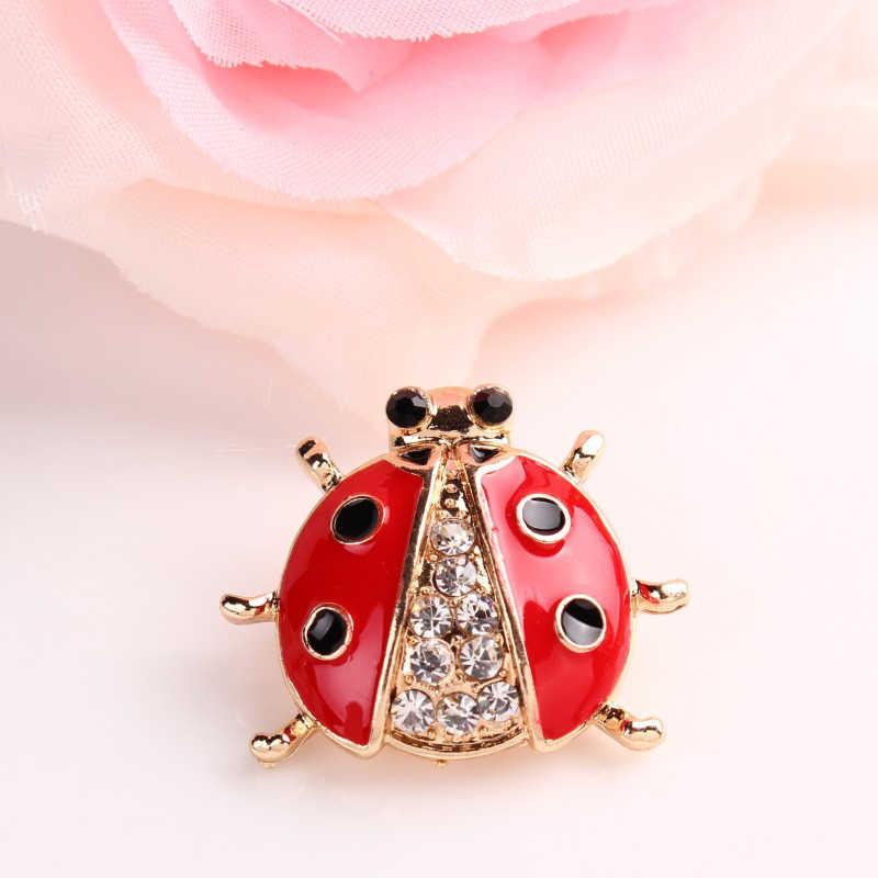 Rhinestone ด้วงแมลง Bug เข็มกลัด Pins สัตว์น่ารัก Ladybug เข็มกลัดคริสตัลเข็มกลัดสำหรับผู้หญิง Ladybug เครื่องประดับ Broaches