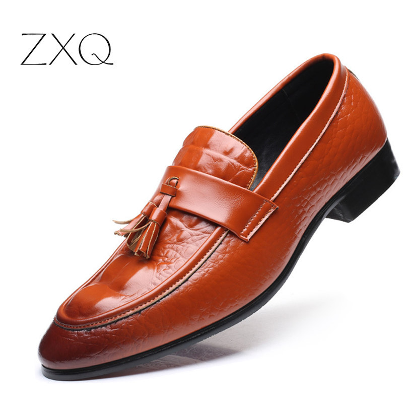 2017 Oxford Soft Leather Men Shoes Pointed Toe Crocodile Pattern Slip-on Shoes Tassel Spring Autumn Men Shoes Driving Shoes