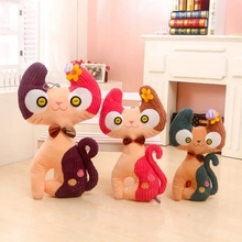 2016 hot sale creative cartoon cute cat with bow tie plush stuffed doll kids baby boy girl  toys gift free shipping