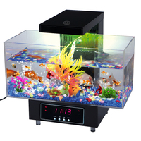 New Fish Tank Mini Aquarium 2019 Casual Aquarium Reassuring USB Aquarium with LED Lamp Light LCD Display Screen&Clock Fish Tank