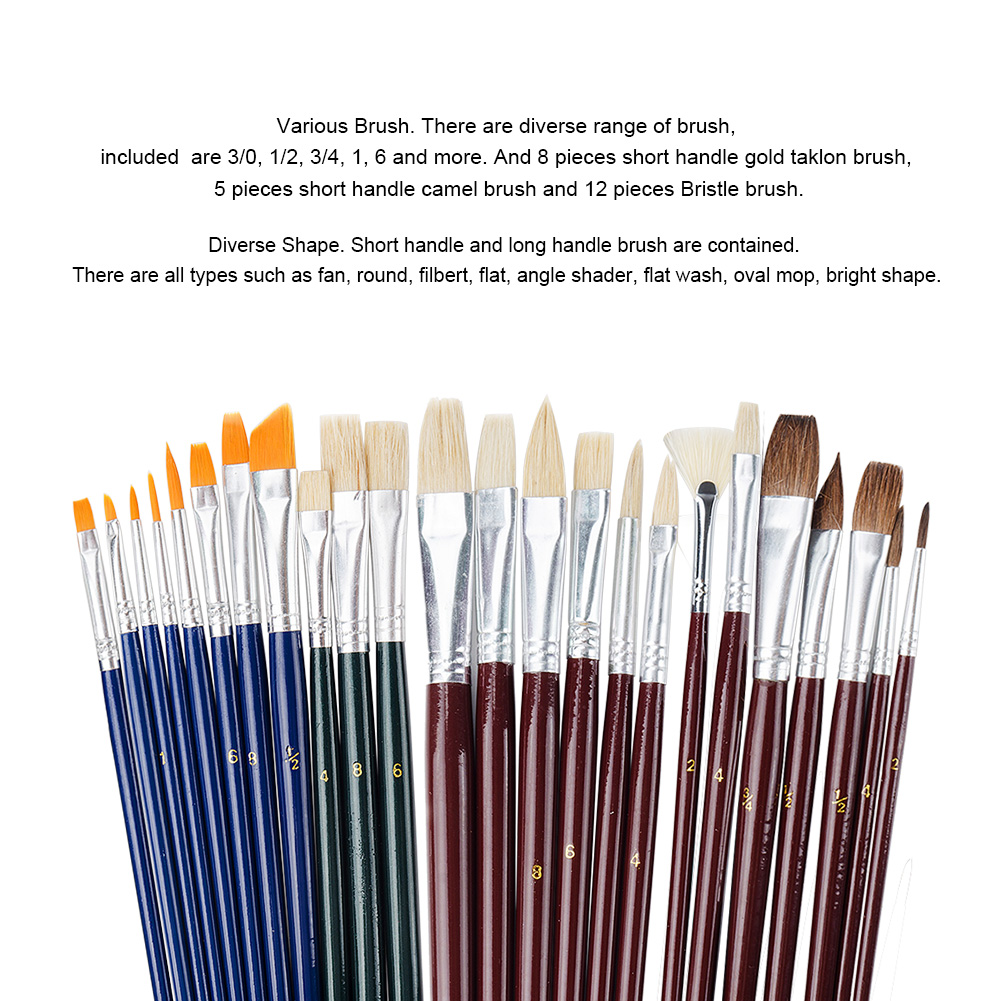25 Pieces Art Paint Brush Value Set For Oils Acrylic Gouache