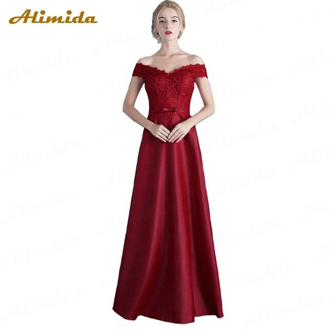 ALIMIDA Length Evening Dress 2018 Red Wine Banquet Prom Dresses Sexy Off  the Shoulder Formal Party Dress vestido de festa ed24eb26d7e1