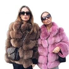 b 2019 New Winter Coat Women Faux Fox Fur Plus Size Stand Collar Long Sleeve Jacket gilet fourrure