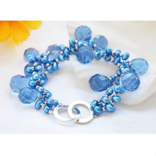Charmant bijoux en perles de chance, 3 rangées de 8 pouces de perles d'eau douce de riz bleu à facettes Bracelet en perles de cristal goutte à goutte
