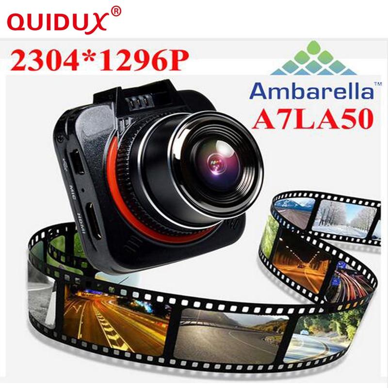 QUIDUX Ambarella A7 LA50 XHD 1296P Car DVR DashCam GS52D G52D Mini Car Camera Recorder Time Lapse LDWS/FCWS GPS(Optional)