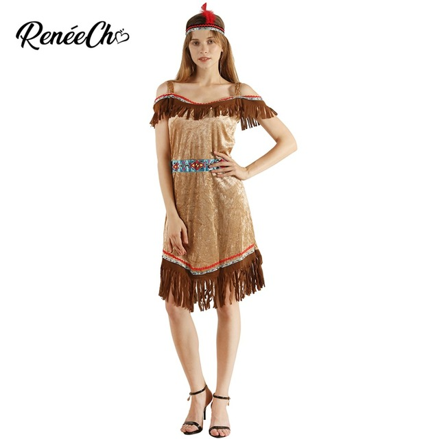 2f6634a9098 US $16.44 35% OFF|2018 Women Native American Princess Costume Pocahontas  Cosplay Lady Indian Suede Fringe Fancy Dress For Halloween Carnival Party  on ...