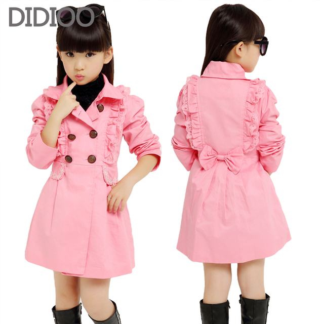 Big Girls Trench Coats Long Cotton Jackets For Girls Outerwear Lace Double Breasted Girls Windbreaker Spring Autumn Kids Clothes