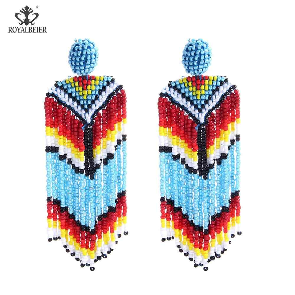 Royalbeier Hạt Giống Hạt Tua Dài Bông Tai Handmade Dệt Vải Bông Tai Giọt Đời Boho Tuyên Bố Thời Trang Trang Sức Dân Tộc BIJOUX ES0365