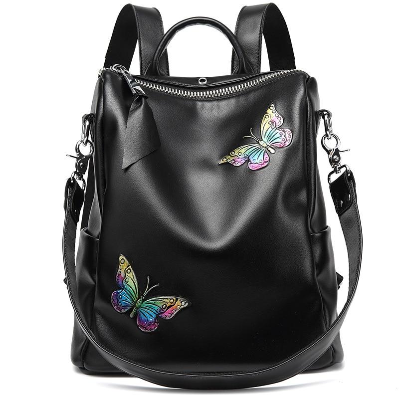 Soft Fashion Butterfly Painting Backpack Calf Leather Backpacks Women Mochila Feminina Zipper Backpack Bookbags butterfly patches faux leather backpack