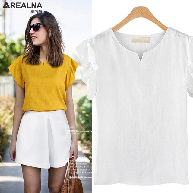 b0b35a68c9a146 Ruffle White Blouse Women Casual V-neck Summer ladies Tops Sleeveless Cotton  linen shirt women Plus Size Blusas Mujer M-5XL