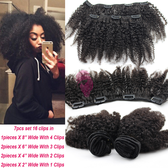 Afro Kinky Clip In Hair Extensions Brazilian Hair Extensions Afro