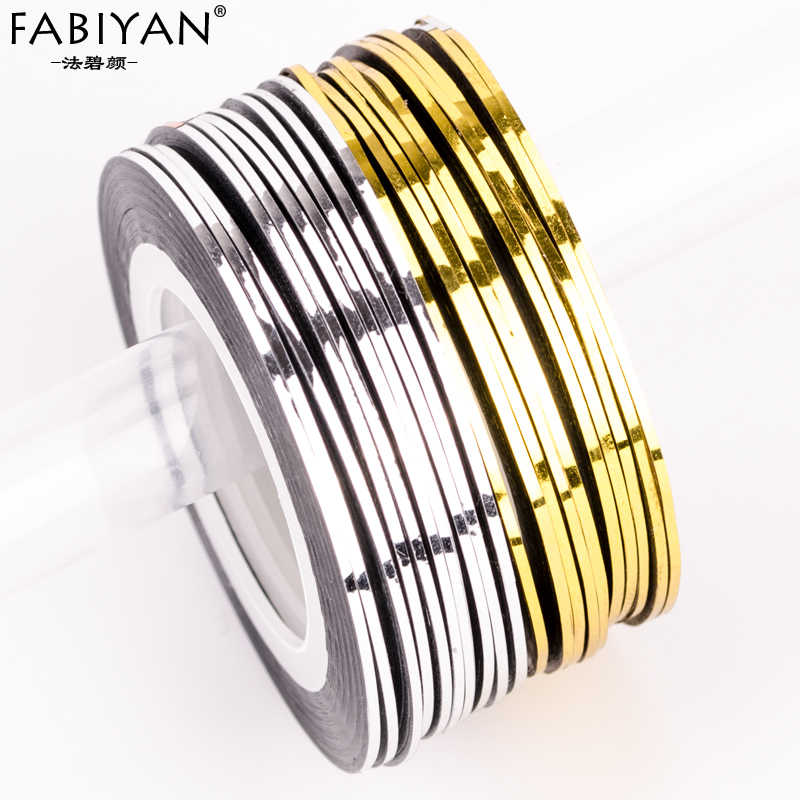 10pcs Silver+10pcs Gold Striping Tape Line Nail Art Stickers DIY Design Manicure Decals Self Adhesive 3D Tips Tools Rolls