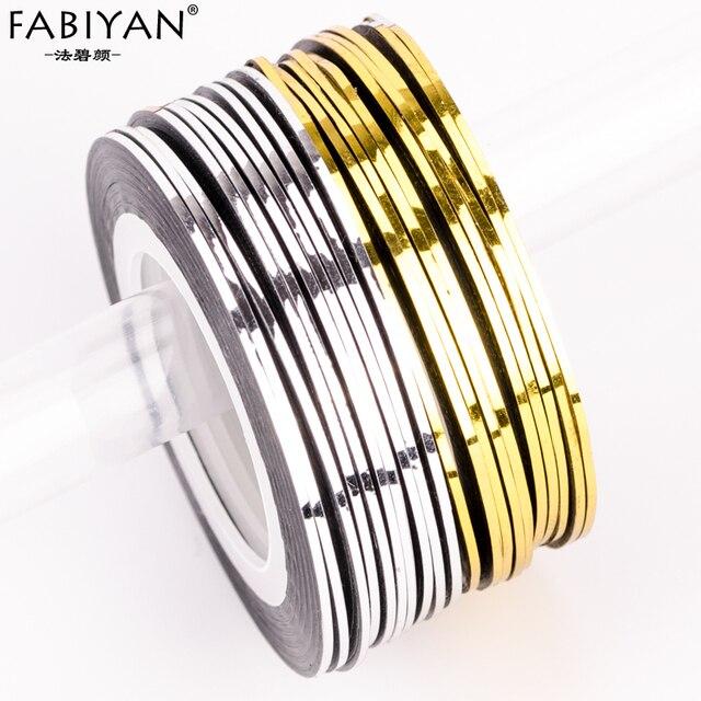 10 stücke Silber + 10 stücke Gold Striping-klebeband-linie Nail art Aufkleber DIY Design Maniküre Aufkleber selbstklebende 3D tipps Werkzeuge Rollen