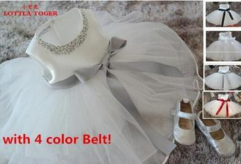 Specials 2017 Retail Girl Dresses Children Party Dress Summer Dress Princess Girl Wedding With 4 Colors Ribbons Birthday