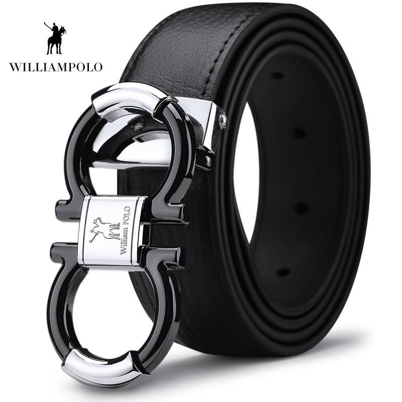 Williampolo Men's Solid Genuine Leather Buckle With Automatic Ratchet Leather 35MM Drop Shipping PL18385-86P