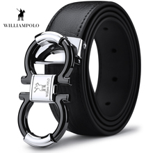 Williampolo Mens Solid Genuine Leather Buckle With Automatic Ratchet Leather 35MM Drop Shipping PL18385 86P