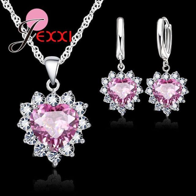 JEXXI Fashion Heart Shaped Crystal Pendant S90 Silver Necklace Loop Earring Wedd
