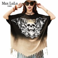 Max LuLu Luxury Punk Rivet Skulls Girls Summer Streetwear Printed Tops Tees Womens Harajuku T Shirt