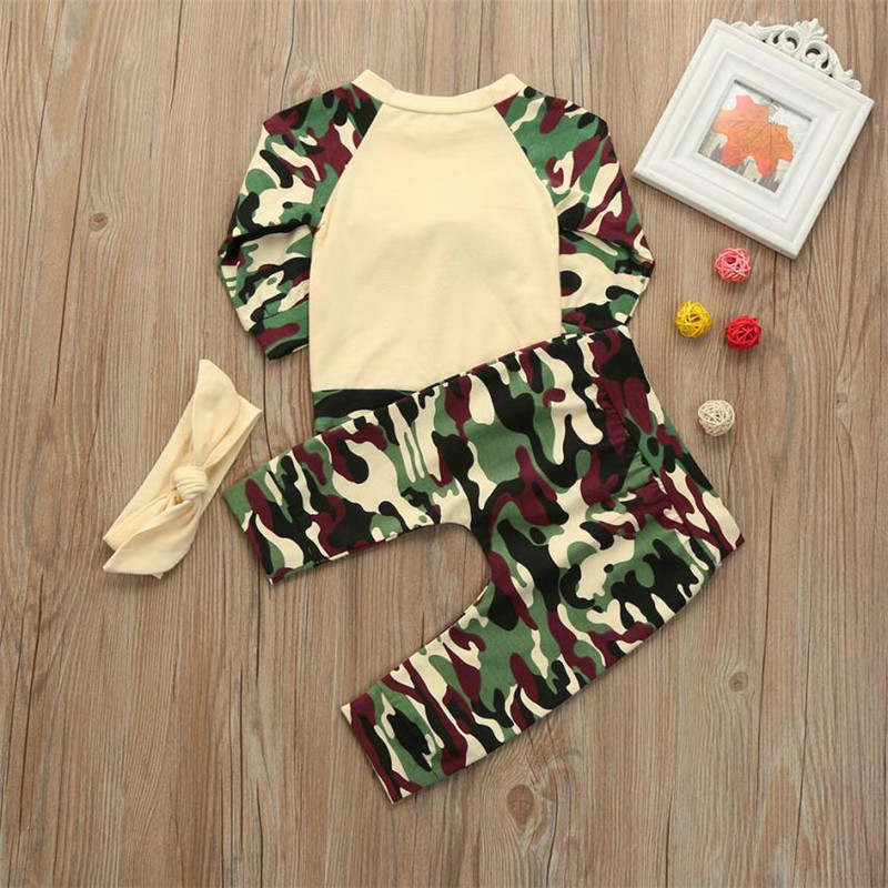 MUQGEW 3PCS Toddler Baby Girls Boys Camouflage Bow Tops Pants SET baby girl clothes newborn clothes vetement enfant fille