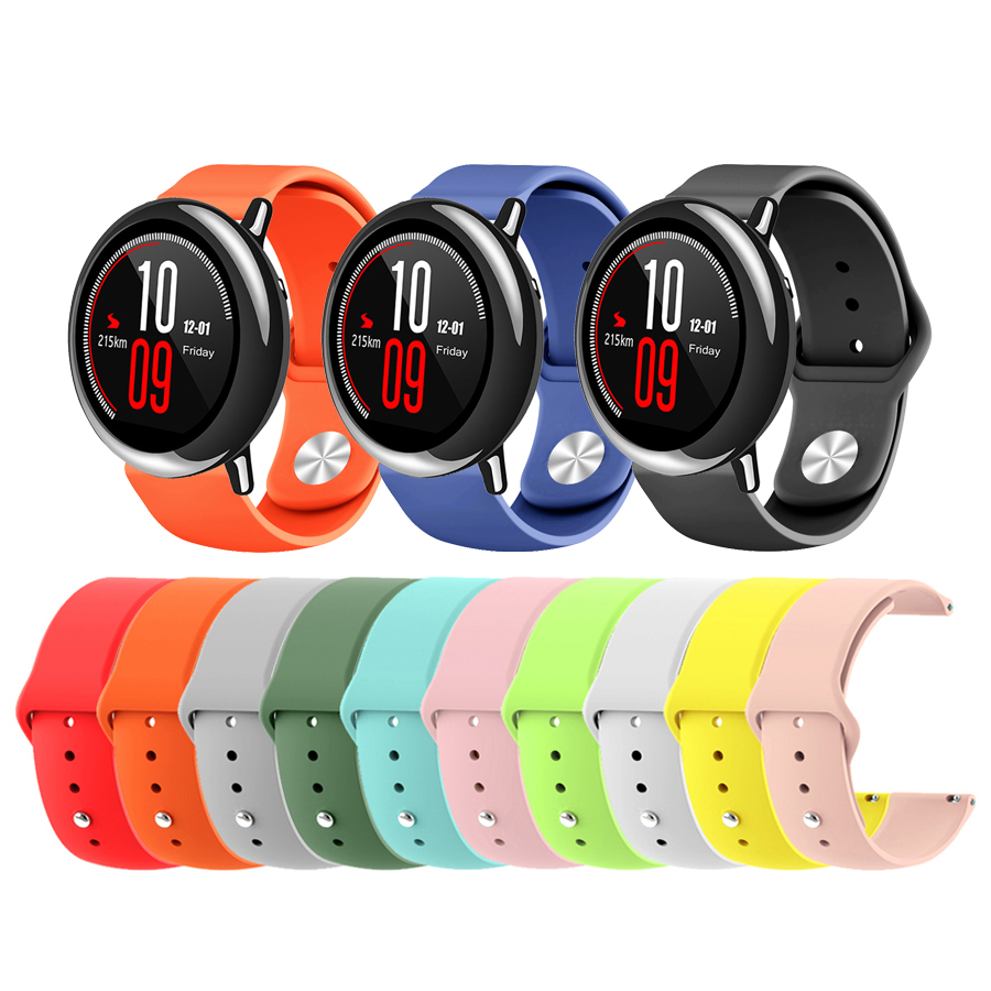 22mm Soft Silicone Watch Strap Band For Xiaomi Huami Amazfit Pace Smart Watch Replacement Colorful Bracelet Wrist Band Straps
