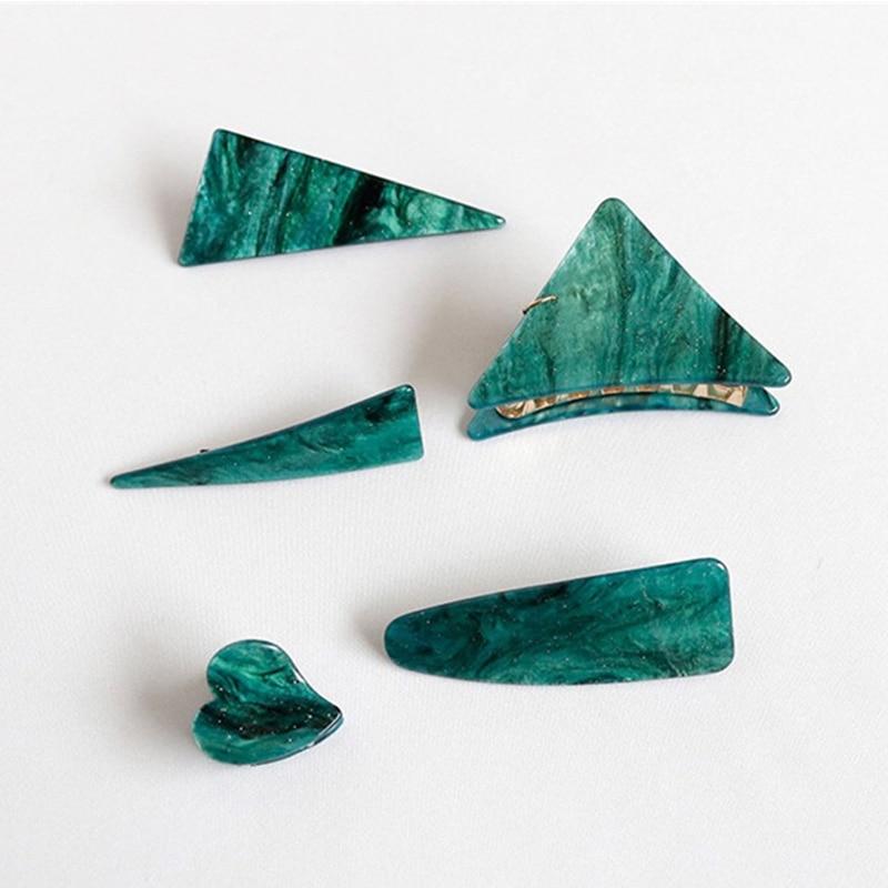 Fashion Head Jewelry Hair Accessories Triangles Vintage Grasp Clip Emerald Series Geometrical Hair Clips Korean Women Stylish
