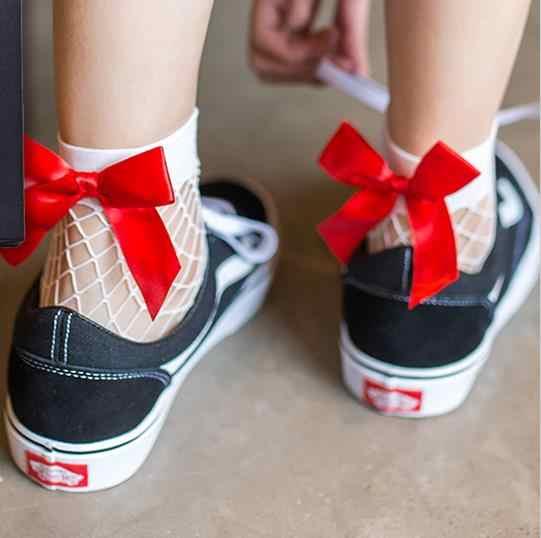 BKLD Mode 2017 Neue Frauen Sexy Schwarz Mesh Kurze Knöchel Socken Weihnachten Mädchen Fishnet Socken Mit Niedlichen Schleife Damen Socken 6 farben