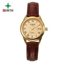 Kobiety ubierają zegarki North Brand Prawdziwy rzemień Prosty Design Roman Nemerals Minimalizm Lady Zegarek kwarcowy relogio feminino