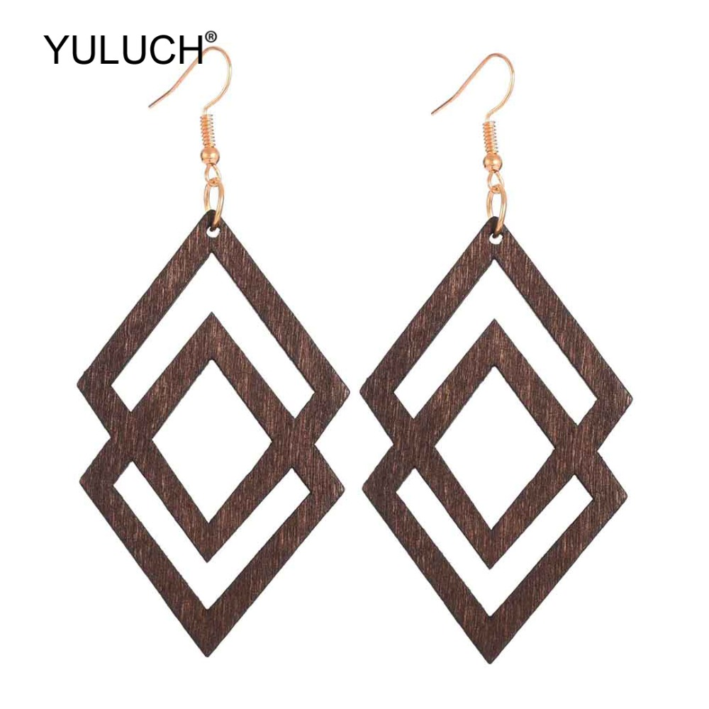 YULUCH Ethnic Wooden Hollow Pendant Earrings African Indian Women Statement Hanging Earrings Jewelry Accessories