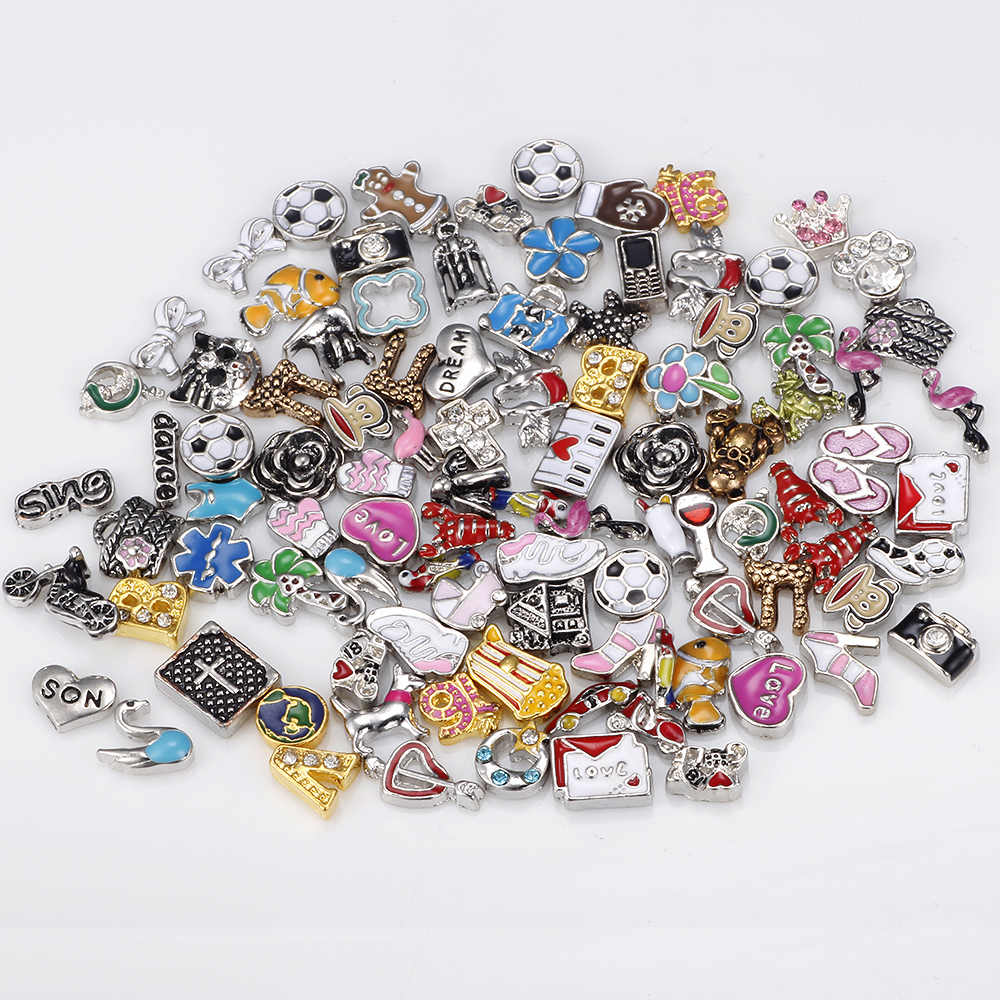 HOMOD 100pcs/lot for living glass locket mix design floating charms Fit Floating lockets & Floating locket bracelet
