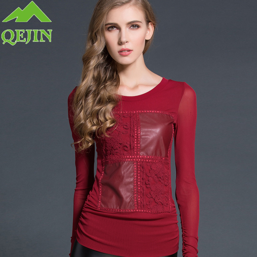 2017 winter women T shirts Patchwork leather embroidery flower shirts Long sleeve grenadine elegant fashion tops tees plus sizes