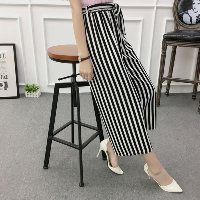 ETOSELL Women New Summer Wide Leg Pants Casual Loose High Elastic Waist Harem Pants Loose Belt Striped Elasticated Trousers 15
