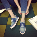 2016 spring autumn new fashion cowboy lace-up canvas shoes student casual female thick bottom comfortable  flat shoes blue